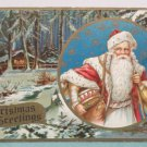 Antique Christmas Postcard Santa Claus Divided Embossed Posted USA