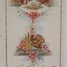 Antique Thanksgiving Postcard Unposted Embossed Divided Glossy