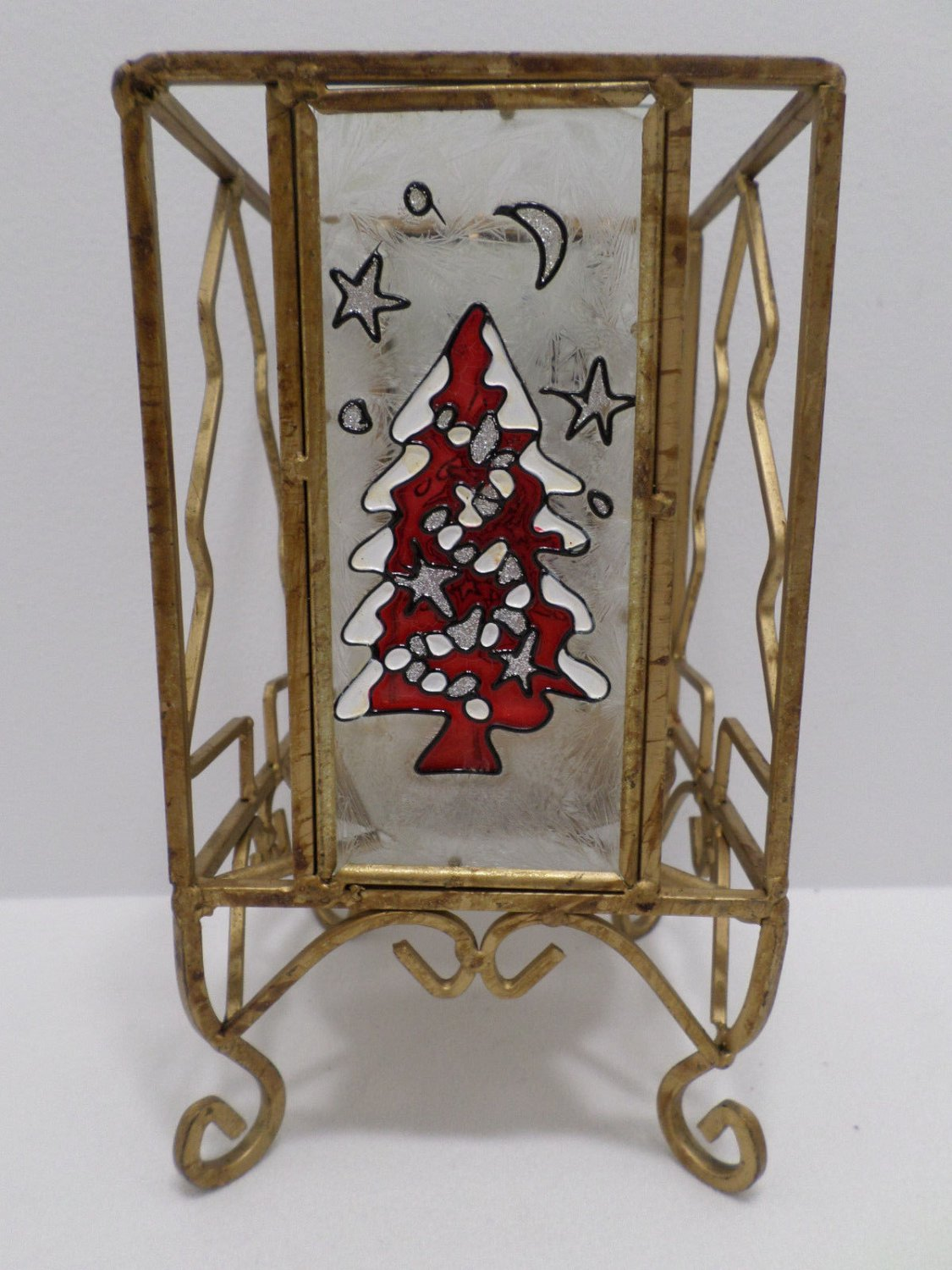 Christmas Candle Holder Brass with Glass Sides Christmas Tree Design