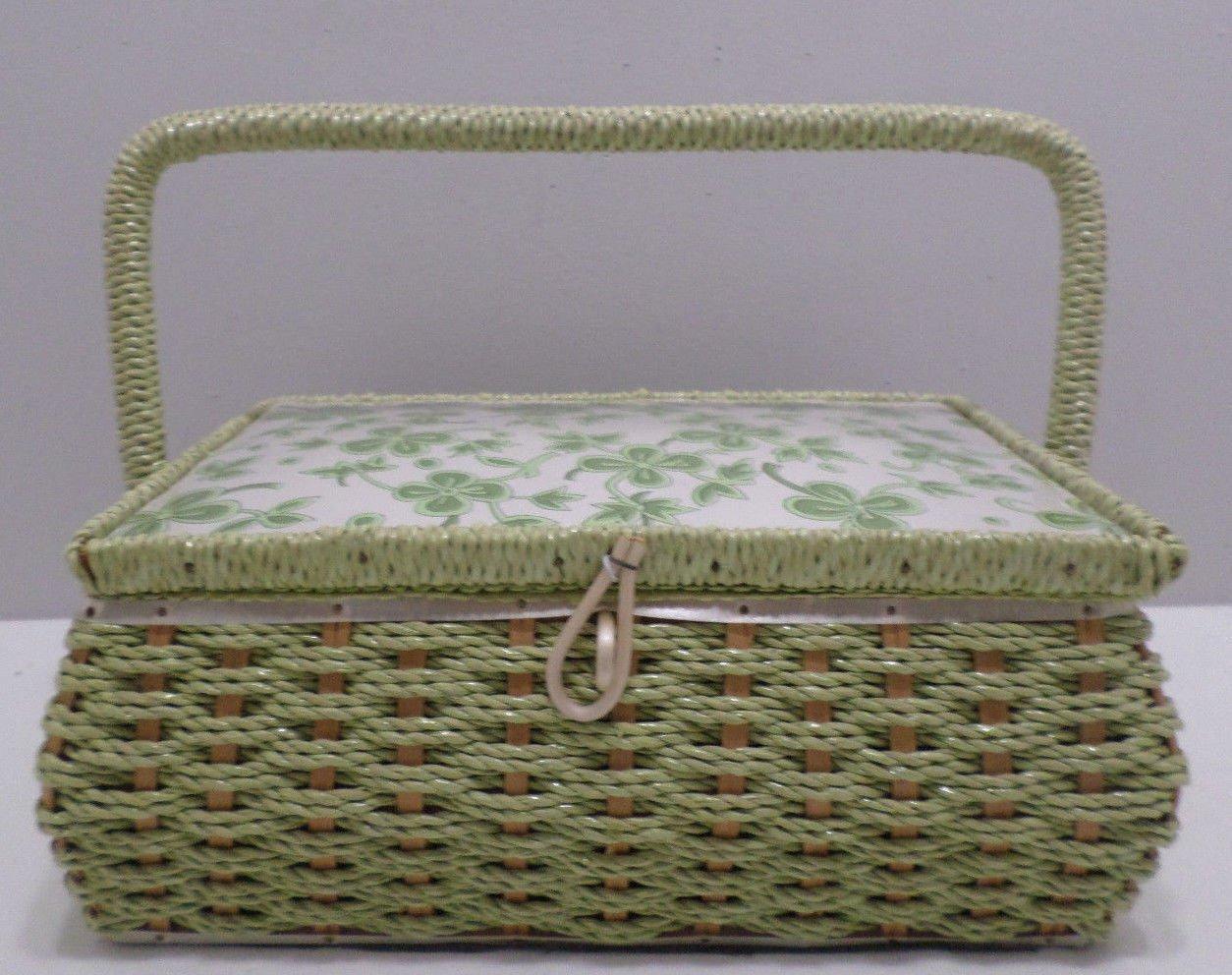 Vintage Sewing Basket Wicker Basket Green Floral Design