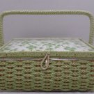 Vintage Sewing Basket Wicker Basket Green Floral Design