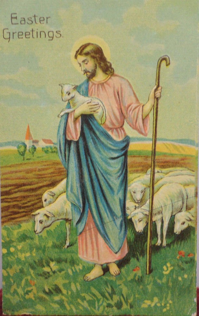 Antique Easter Postcard Jesus holding a Sheep Unposted Divided