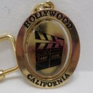 Vintage Key Chain Fob Hollywood California Gold Tone Metal
