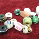 Antique African trade beads Powder Glass 16 pcs Black, Green White