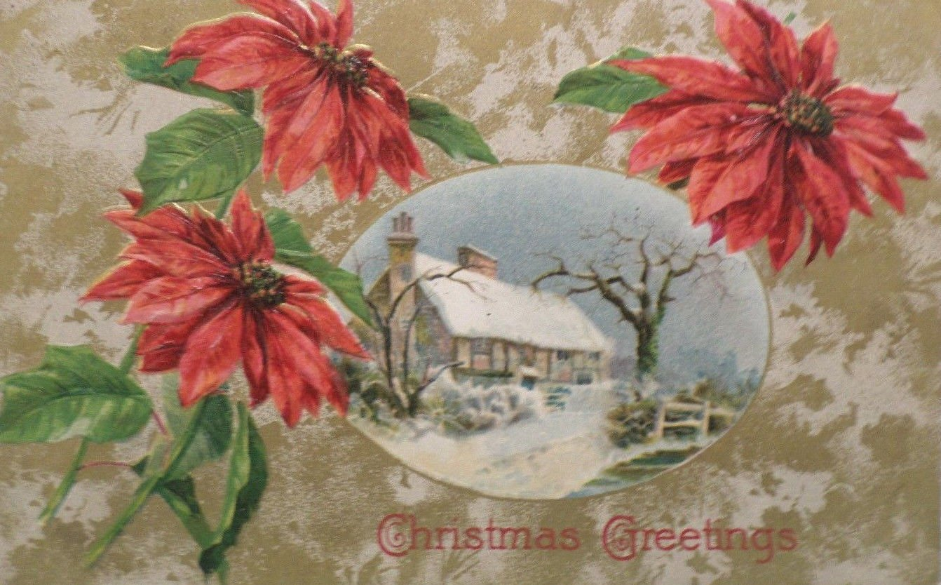 1909 Christmas postcard snowy country scene Germany embossed posted