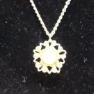 Necklace Gold Tone Metal with Gold Tone Metal Pendant with Faux Pearl