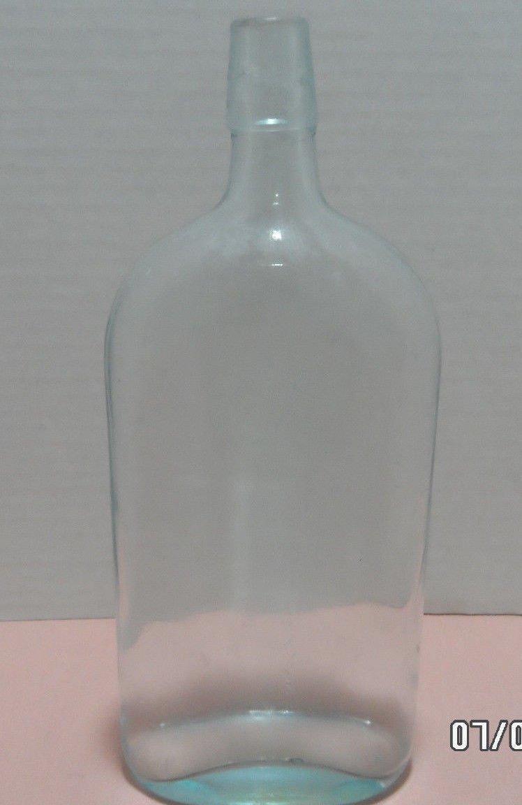 Liquor Bottle Pale Blue Glass