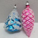 2 Vintage Glass Christmas Tree Ornaments Pink Pine cone Blue Christmas Tree