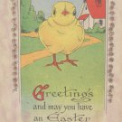 Antique Easter Postcard Yellow Baby Chick Unposted Divided