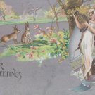 Antique Easter Postcard Rabbits Embossed Posted Divided