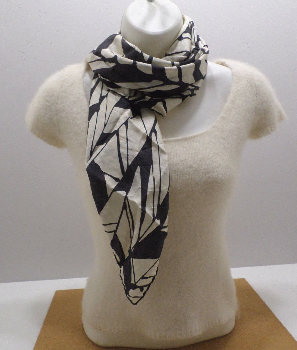 Womens Scarf 100% Silk Hand Rolled Tan with Black Pattern