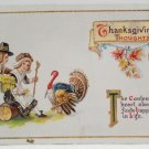 Antique Thanksgiving postcard Pilgrims and Turkey Glossy Unposted Divided