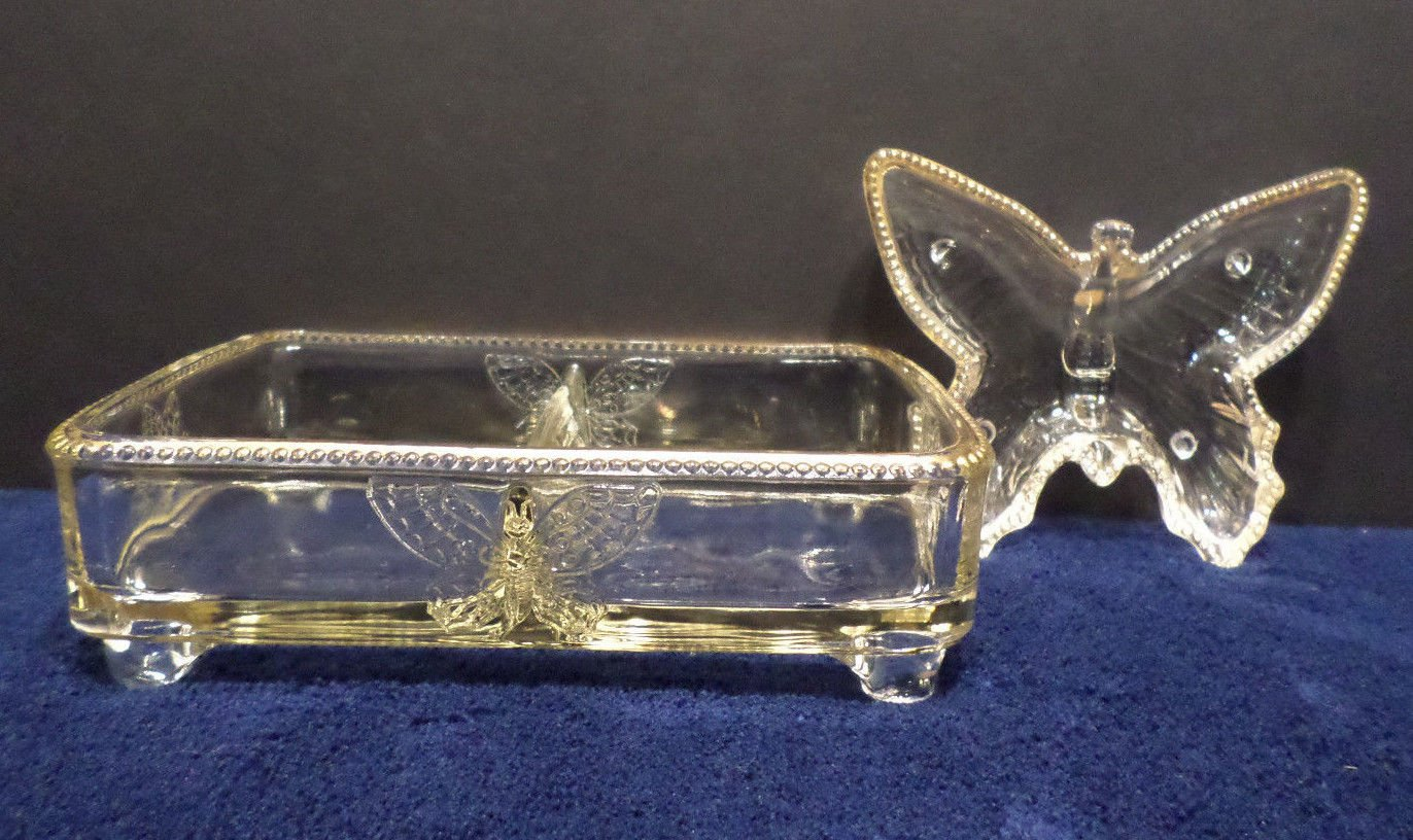 Set of Vanity Jewelry Trays One Divided Tray and one Butterfly Tray Clear Glass