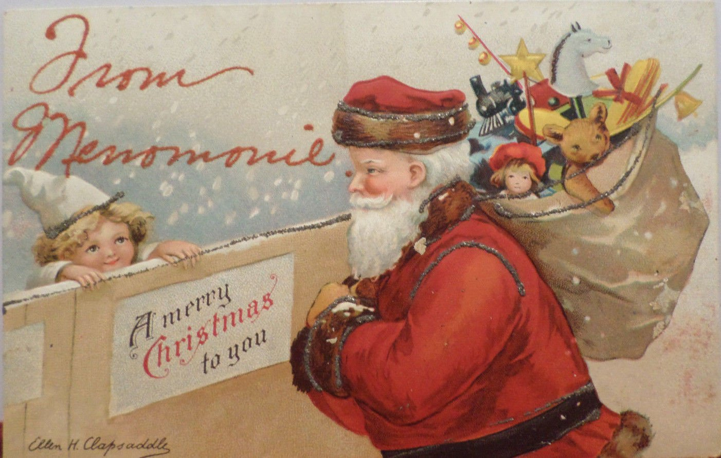 Antique Christmas Postcard Santa Claus Ellen Clapsaddle Embossed Unposted