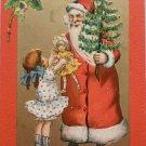 Antique Christmas Postcard Santa Claus Raphael Tuck & Sons Crimson & Gold Posted