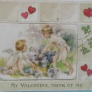 Antique 1910 Valentine Postcard Little Angels Embossed Divided and Posted