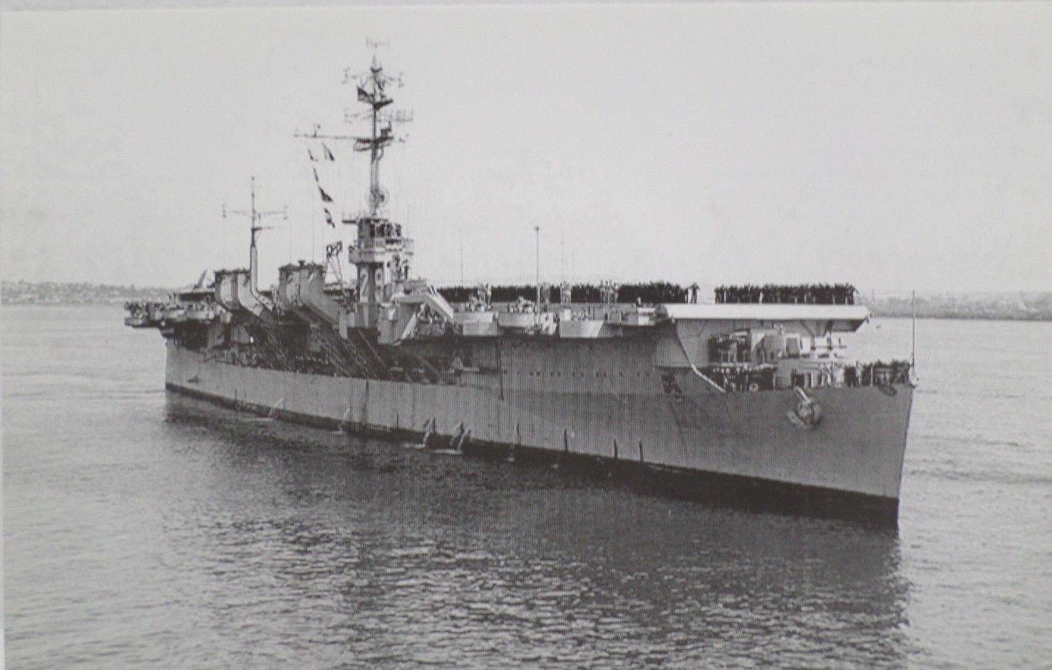 USS Bataan CVL 29 Battleship Real Photo Postcard Official U.S. Navy NEW