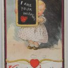 Antique Valentine Postcard of a Baby Girl Ullman Divided and Posted 1910
