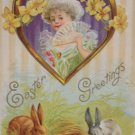 Antique Easter Postcard Rabbits and Colored Eggs unposted Divided Embossed