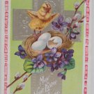 Antique Easter Postcard Baby Chick Nest Eggs Embossed Posted Divided