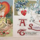 1912 Valentines Postcard Red Heart Angels Pretty Woman John Winsch Germany