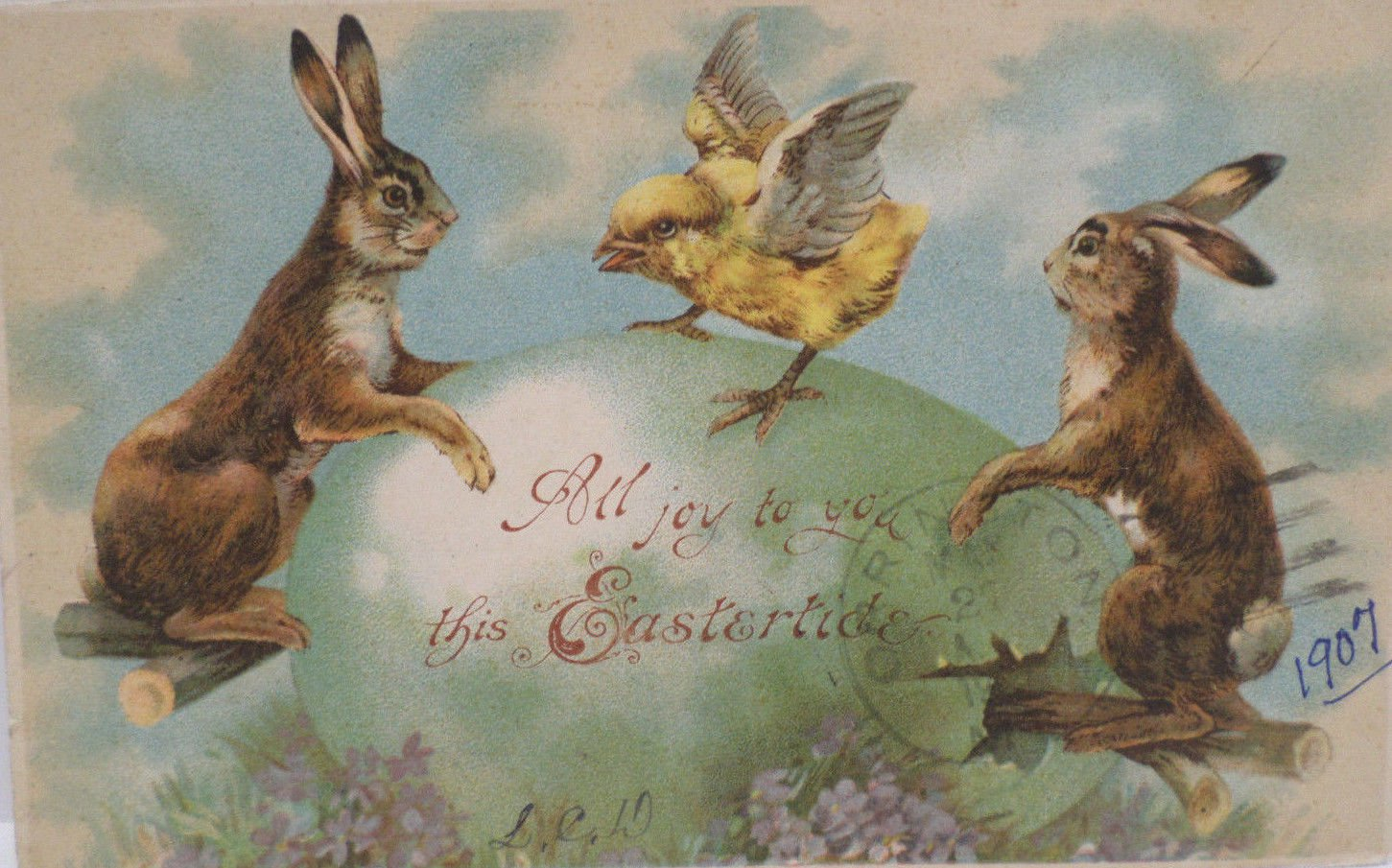 1907 Easter Postcard Rabbits and Chick Dancing on Easter Egg Posted Divided