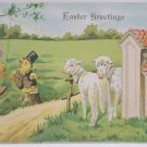 Antique Easter Postcard Humanized Baby Chicks Lamb Embossed Posted Divided