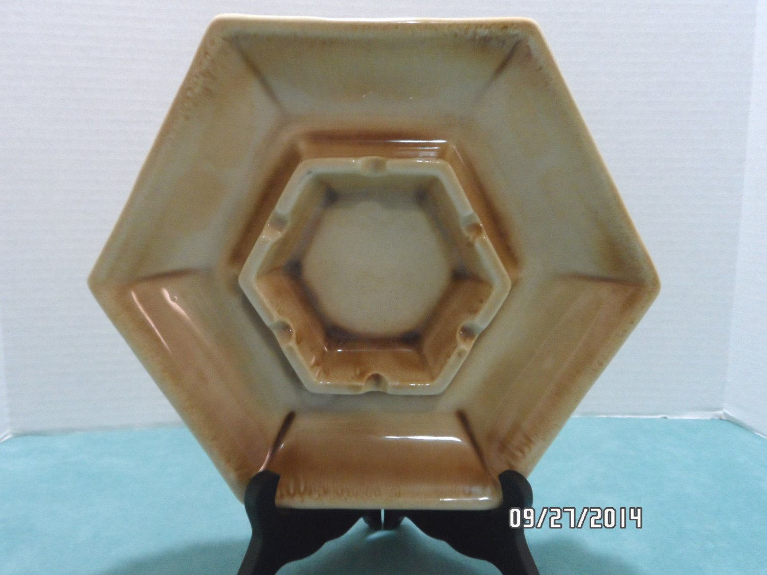 Ashtray by Haeger Tan Ceramic made in the USA