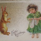 Easter Postcard Easter Rabbit and a Little Girl Embossed Posted Divided