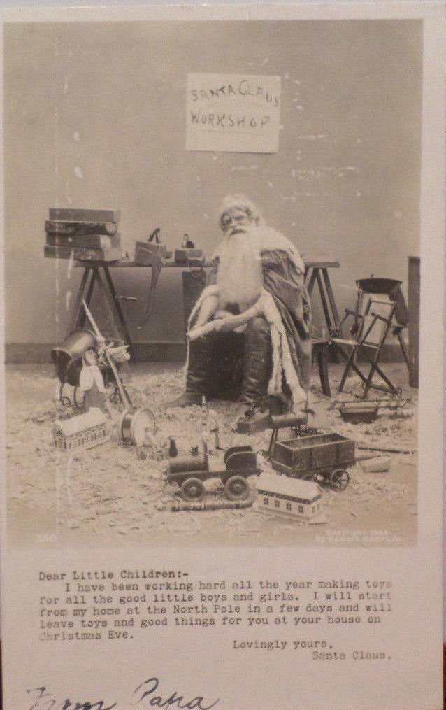 Antique Christmas Postcard Real Photo Santa Claus Black and White Glossy