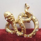 Brooch Gold Tone Metal Snake with Clear Rhinestones