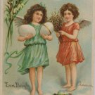 Antique Easter Postcard Two Angels Easter Eggs Embossed Posted
