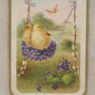 Antique Easter Postcard Two Baby Chicks Swinging on Swing Posted Divided