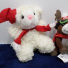 Christmas Lamb and a Coca Cola Reindeer Stuffed Animals Christmas  Lot of 2