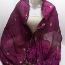 Vintage Ladies Scarf Woven Pure Silk Purple with Gold Design Made in India