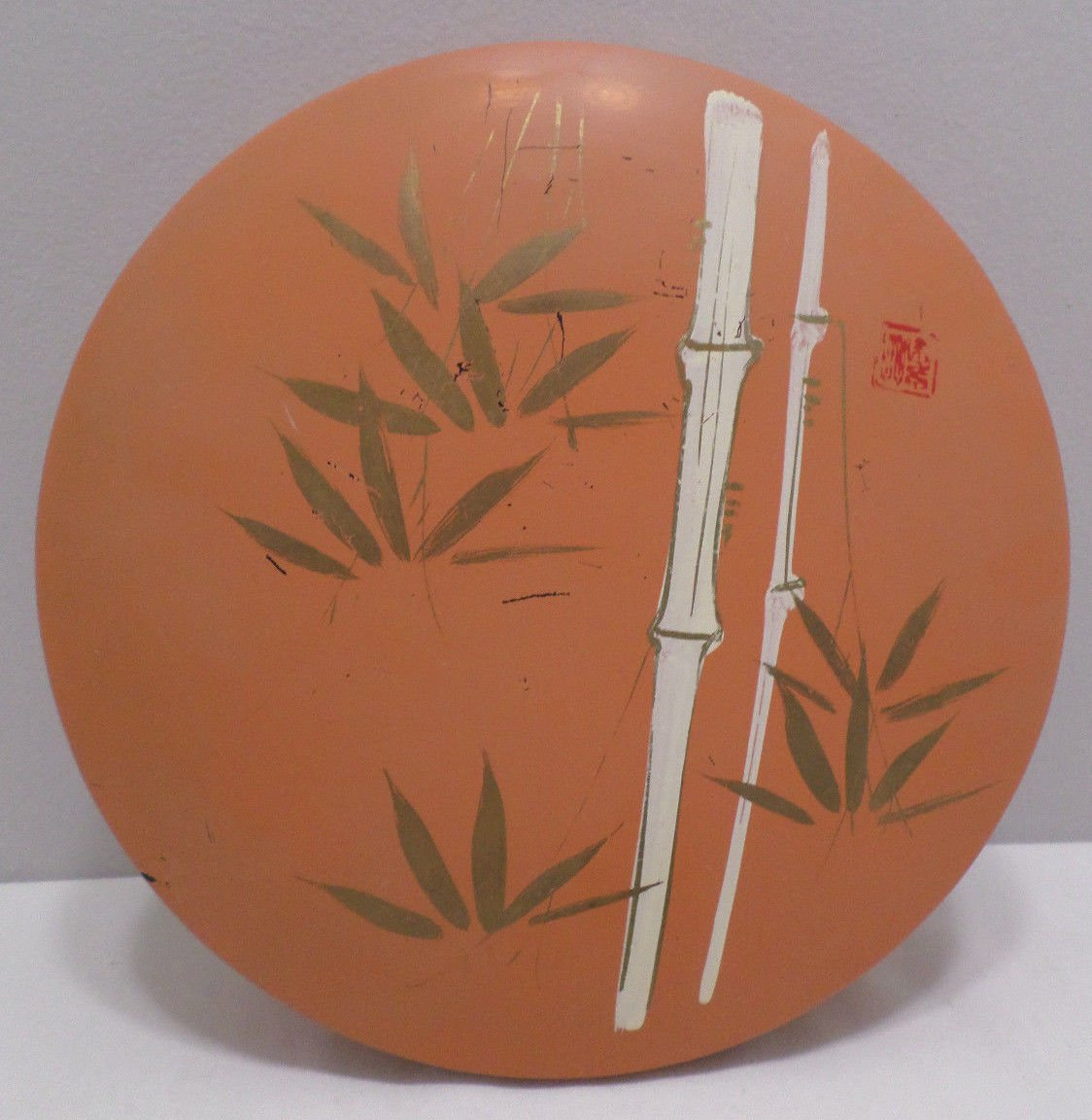 Japanese Box Container Orange Plastic with Bamboo Design Signed by Artist Japan