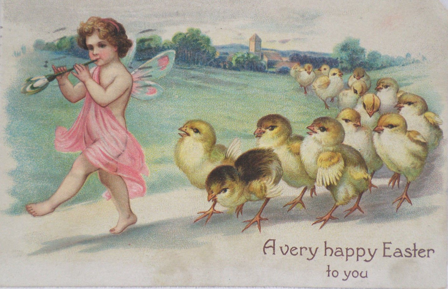 Antique Easter Postcard Little Girl blowing a horn Baby Chicks Following