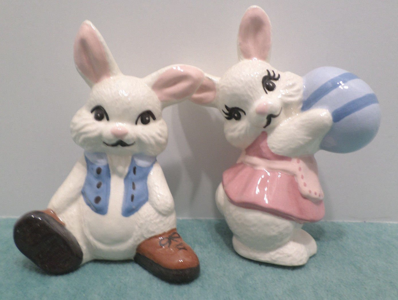 Pair of Easter Bunny Rabbit Figurines Porcelain Male and Female