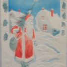 Antique Christmas Postcard Santa Claus Walking in Snow with Tree Unposted