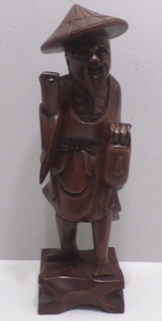Chinese Statue of a Man Hand Carved Teak Wood Artist Initials Carved on the Back