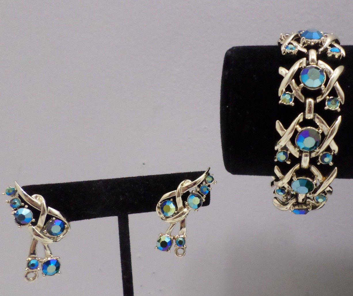 Coro Bracelet and Earrings Set Gold Tone Metal Blue Green Rhinestones