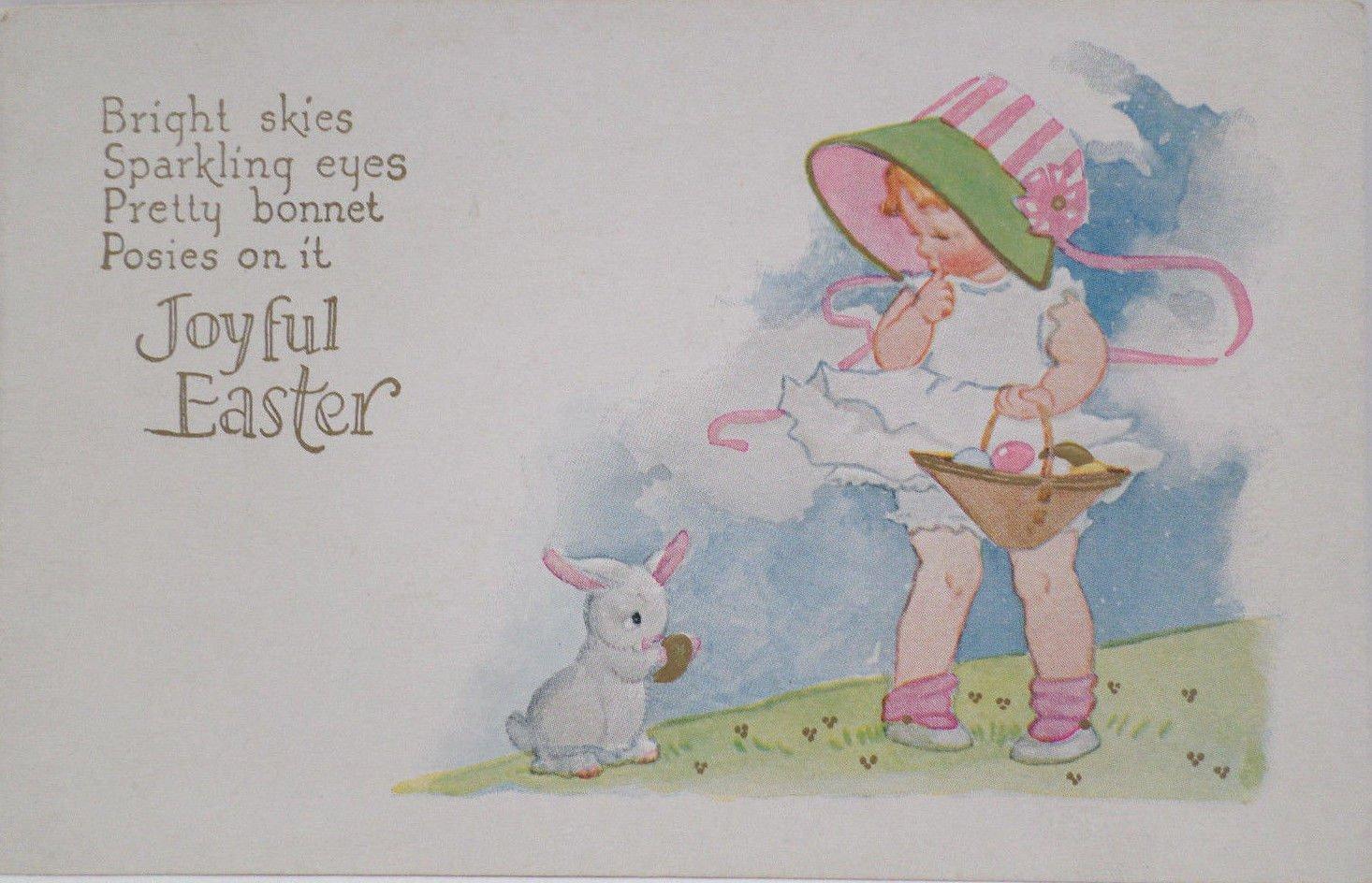 Antique Easter Postcard Rabbit Little Girl Easter Eggs Unposted Divided