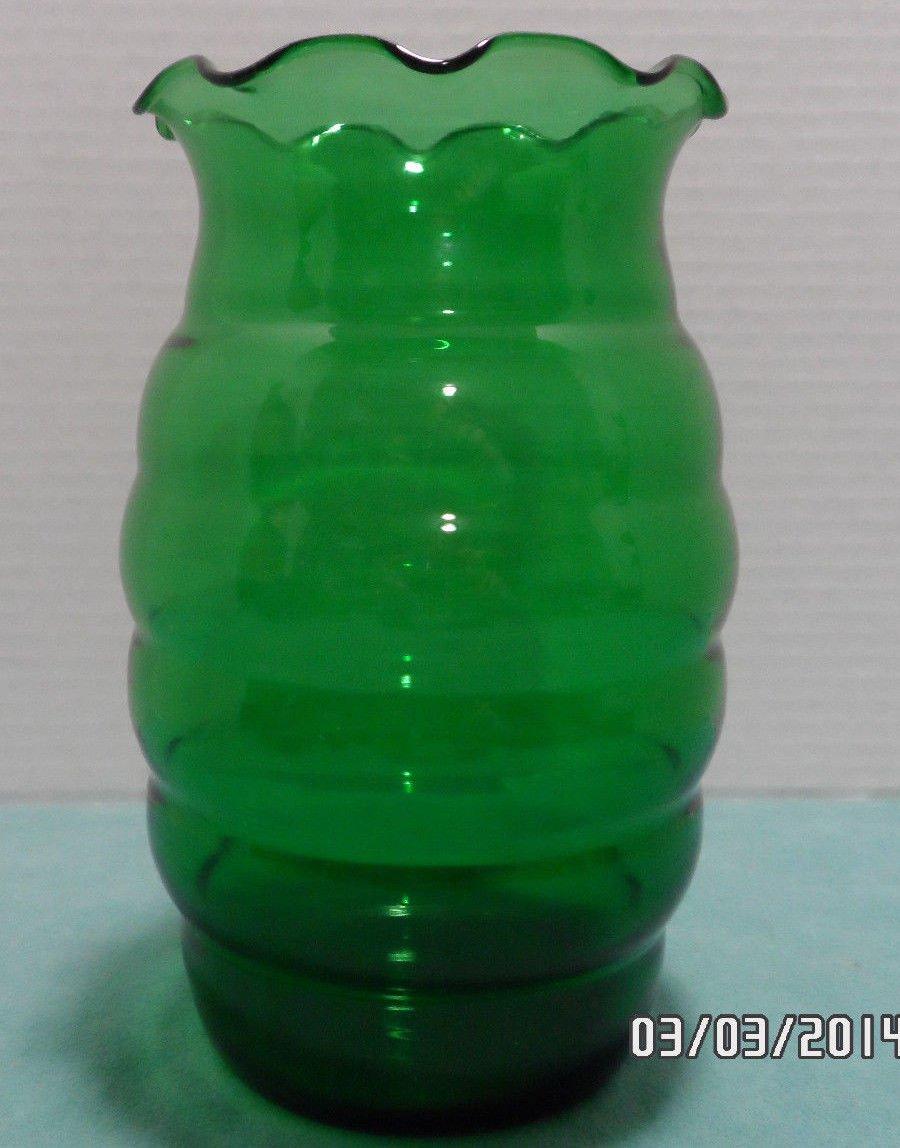 Green Glass Flower Vase Round Vintage