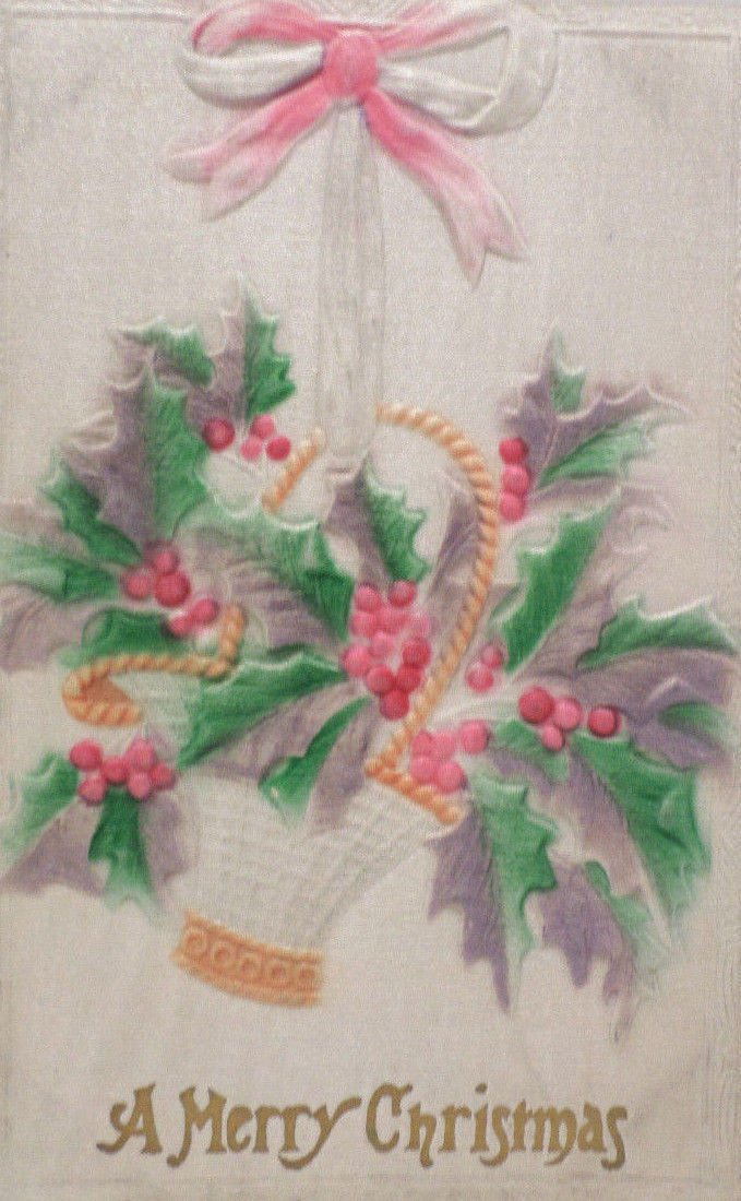 Antique Christmas postcard silk basket of poinsettia unposted divided