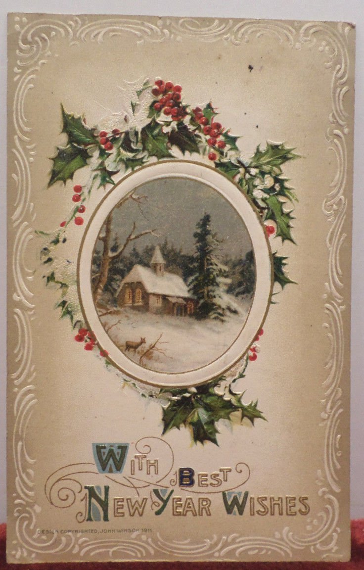 1911 New Year Postcard Holly John Winsch Embossed Posted Divided