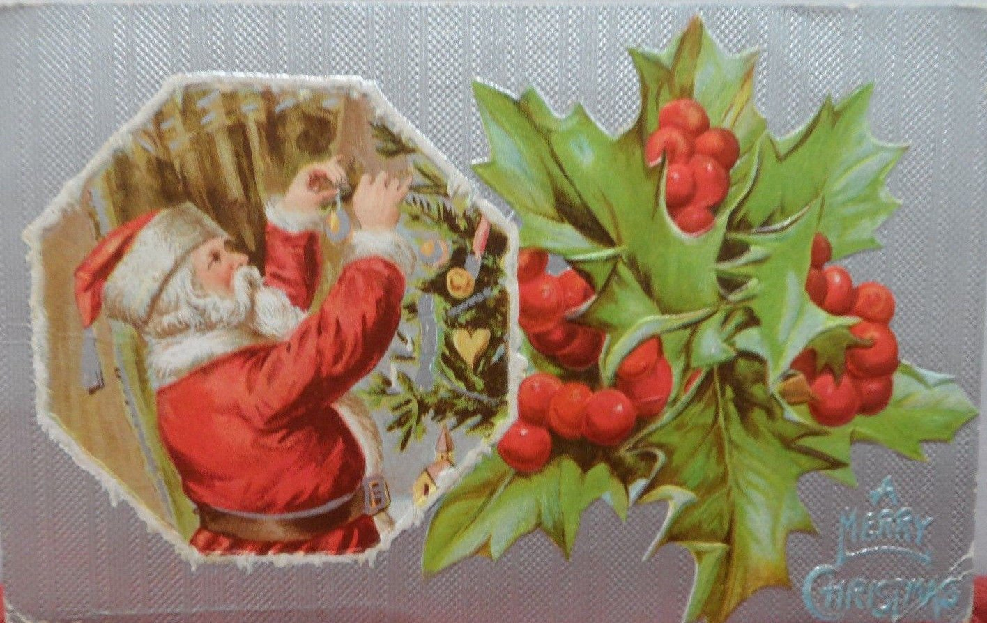 Christmas Postcard Santa Claus Putting Ornaments on a Tree Embossed Posted