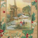 Antique Christmas Postcard Country Scene Windmill Embossed Unposted Divided