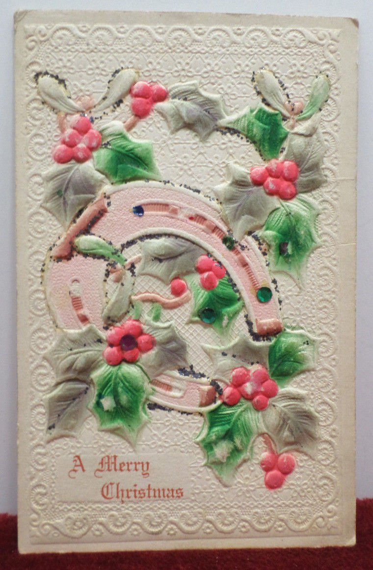 Christmas Postcard Horse Shoe and Holly Embossed Unposted Divided