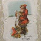 Antique Christmas Postcard Santa Claus Sander Embossed Divided Posted