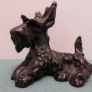 Antique Figurine Solid Brass Scottish Terrier Dog Painted Black made in Austria